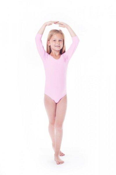 Gymnastický dres Body lycra (B15) rukáv 3/4 Shepa 134 světle růžová
