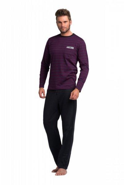 Rossli pánské pyžamo dlouhé fialovošedé L grafitovo (tmavě šedá) - fialová