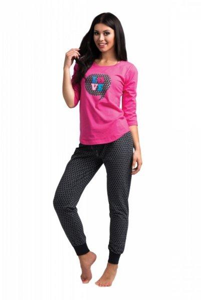 Dámské pyžamo Rossli SAL-PY-1024 XL růžovo-grafitová (tmavě šedá)