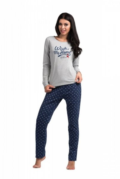 Dámské pyžamo Rossli SAL-PY-1025 S šedá-tmavě modrá