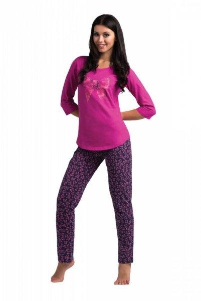 Rossli SAL-PY 1031 dámské pyžamo tmavo růžová S fialovo-tmavě modrá