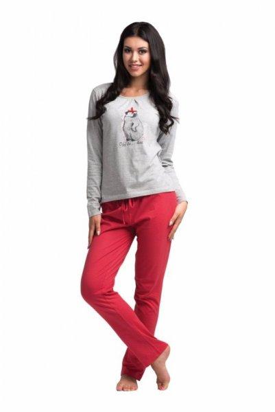 Rossli SAL-PY-1021 dámské pyžamo šedo-červená S šedo-červená