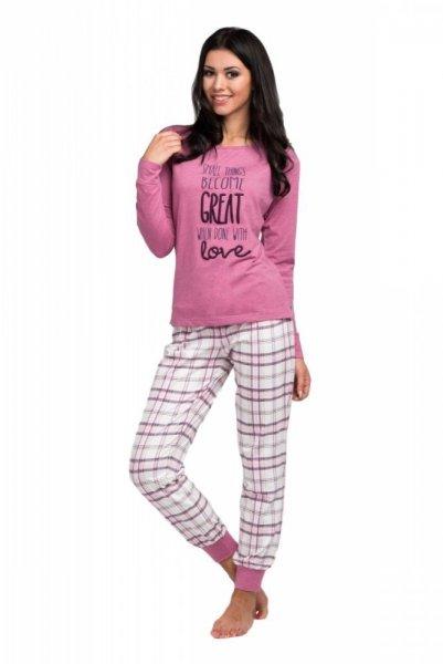 Rossli SAL-PY 1032 dámské pyžamo fialová - světle S růžovo-bílá