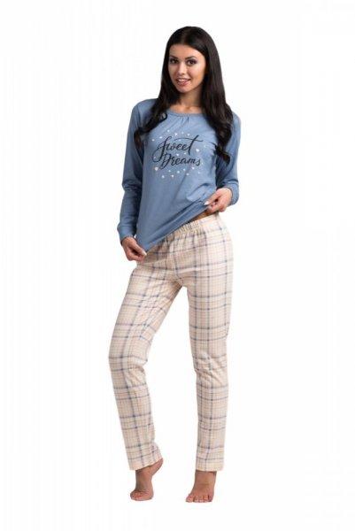 Rossli SAL-PY 1033 dámské pyžamo denim S béžovo-modrá