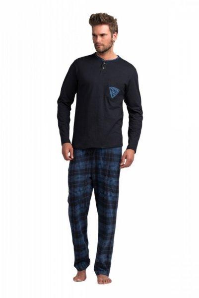 Rossli pánské pyžamo dlouhé modré kostka XXL tmavě modrá