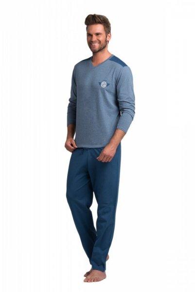 Rossli pánské pyžamo dlouhé modré XXL modrá