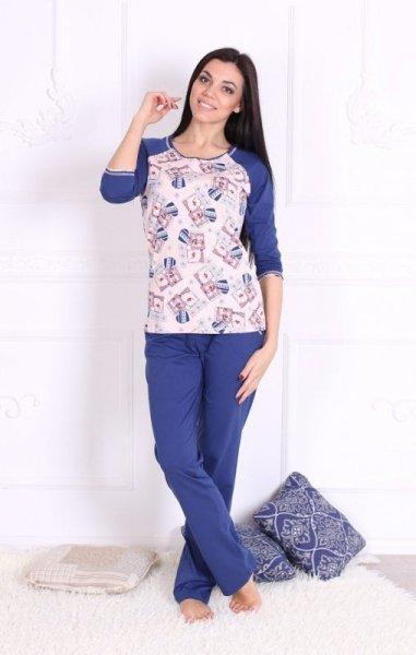 Roksana Charming 547 Dámské pyžamo S růžovo-tmavě modrá