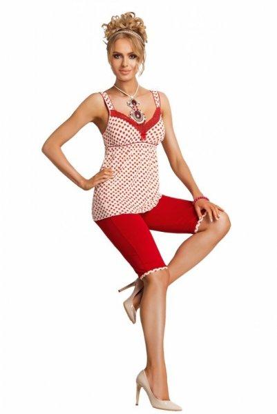 Donna Candy PJ dámské pyžamo 3/4 L červeno-ecru