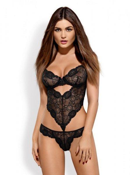 OBSESSIVE - Erotické body Alluria teddy L/XL černá