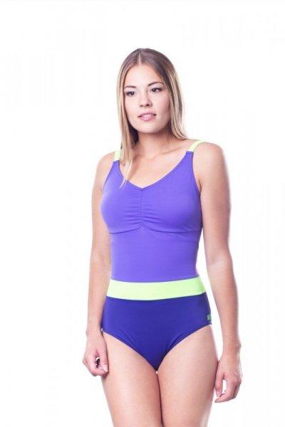 Dámské jednodílné plavky Shepa 074 (B22D16/23) L fialová/žlutá