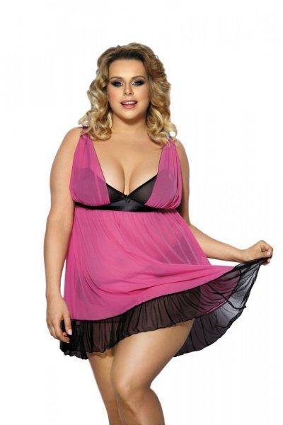 Angels Never Sin Carinola Košilka Size Plus XL/XXL růžovo-černá