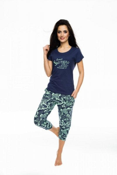 Rossli SAL-PY-1044 Dámské pyžamo S tmavě modrá-zelená