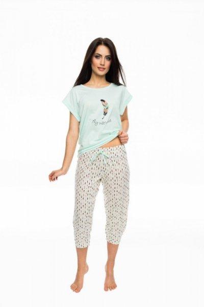 Rossli SAL-PY-1056 Dámské pyžamo S ecru-máta