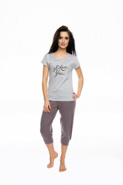 Rossli SAL-PY-1057 Dámské pyžamo S šedo-růžová