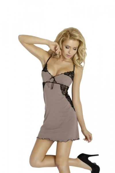 DKare Lara dámská noční košilka cappucino XL černá-cappucino