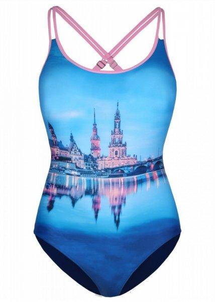 Shepa 079 City Dámské jednodílné plavky (B96D2) M tmavě modrá-růžová
