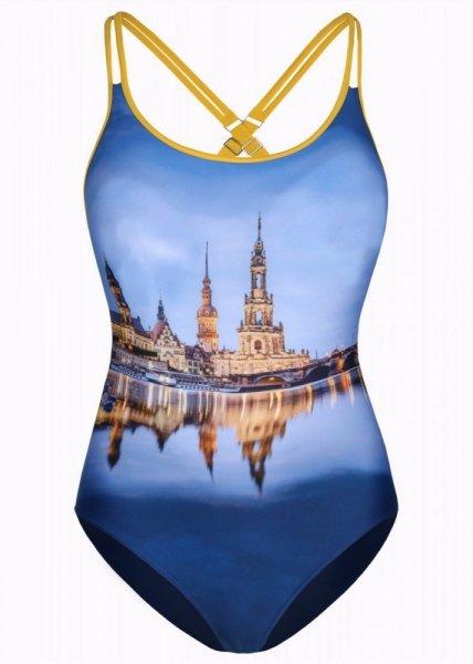 Shepa 079 City Dámské jednodílné plavky (B97D2) L tmavě modrá-žlutá