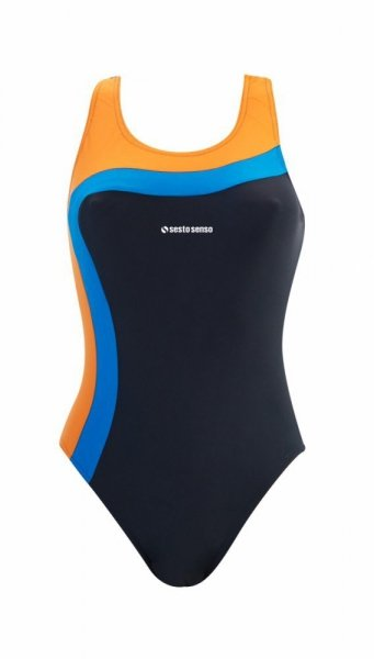 Sesto Senso BD 728 grafitový Dámské plavky XXL grafitovo (tmavě šedá) - oranžová