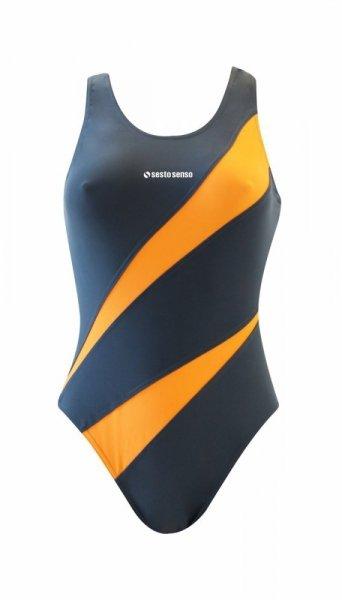 Sesto Senso BD 729 grafitový Dámské plavky XXL grafitovo (tmavě šedá) - oranžová