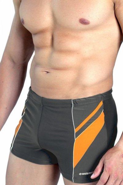 Sesto Senso BD 357 grafitový Pánské plavky XL grafitovo (tmavě šedá) - oranžová