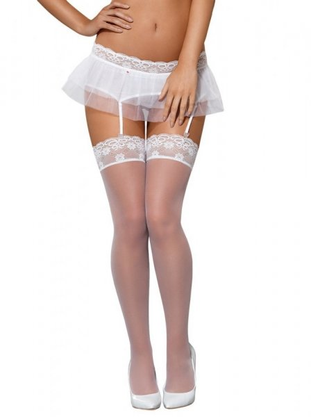 Punčochy Julitta stockings - Obsessive L/XL bílá