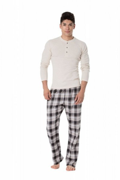 Rossli 093 I pánské pyžamo dlouhé béžové XL béžová/kostka