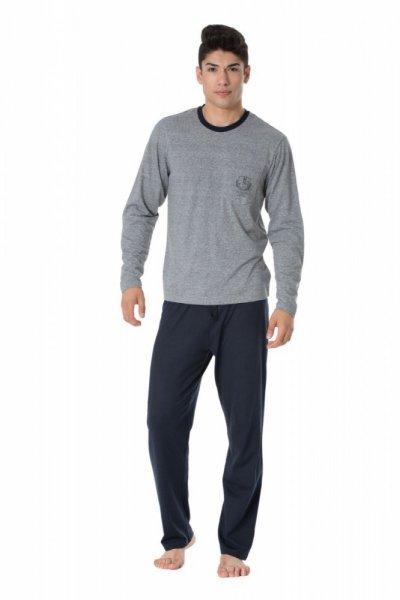 Pánské pyžamo Rossli SAM-PY-098 XL šedá-tmavě modrá