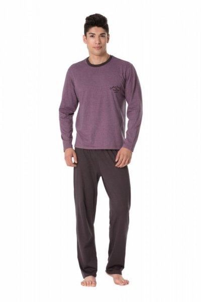 Pánské pyžamo Rossli SAM-PY-104 I XL růžovo-grafitová (tmavě šedá)