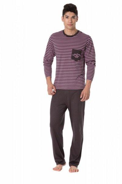 Pánské pyžamo Rossli SAM-PY-104 II XL růžovo-grafitová (tmavě šedá)