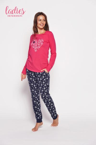 Esotiq Gioia 35599-43x Růžovo-tmavě modré Dámské pyžamo L růžovo-tmavě modrá