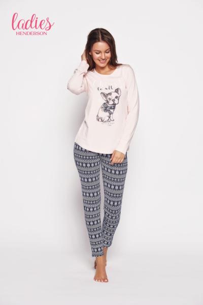Esotiq Glory 35604-03x Růžovo-tmavě modré Dámské pyžamo XL růžovo-tmavě modrá