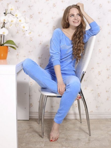 Roksana Dres Stardust 482 Modré Dámské pyžamo M modrá