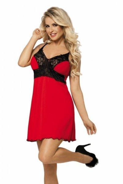 DKaren Natasha noční košilka červená XL červeno-černá