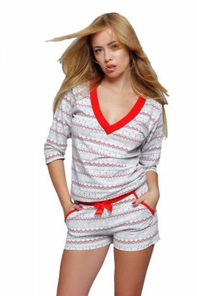 Sensis Snowflake dámské pyžamo šedé M šedo-červená