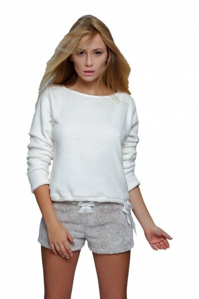 Sensis Soft dámské pyžamo komplet L ecru-béžová