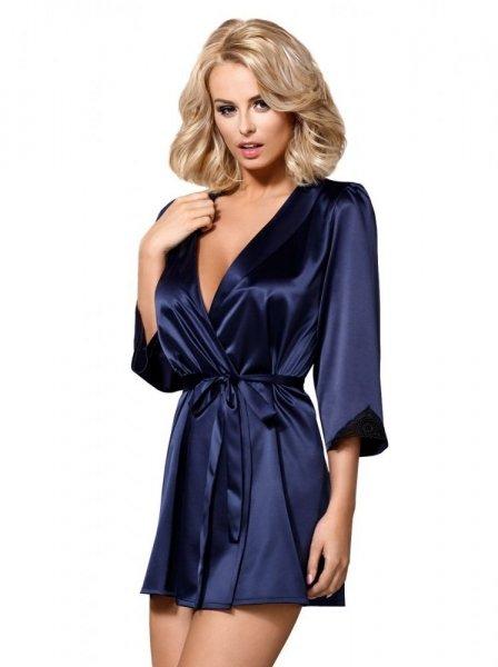 Satinia Obsessive robe župan dark blue XXL tmavě modrá
