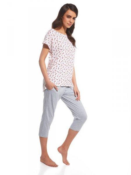 Cornette Cindy 055/106 Dámské pyžamo XL růžovo-šedá