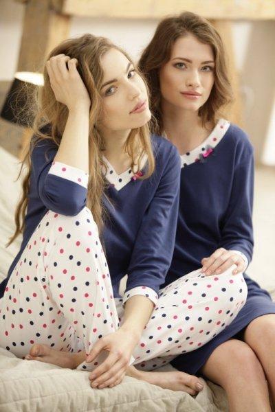 Luna Eleonore 376 Tmavě modro-ecru Dámské pyžamo XXL tmavě modrá-ecru