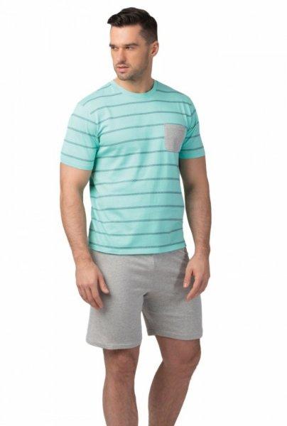 Rossli 107 pánské pyžamo krátké tyrkysové XL Tyrkysovo-šedá