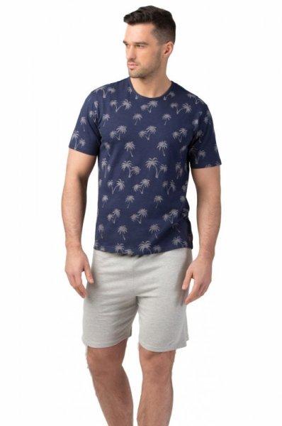 Rossli 109 pánské pyžamo krátké tm.modré XL tmavě modrá/vzor