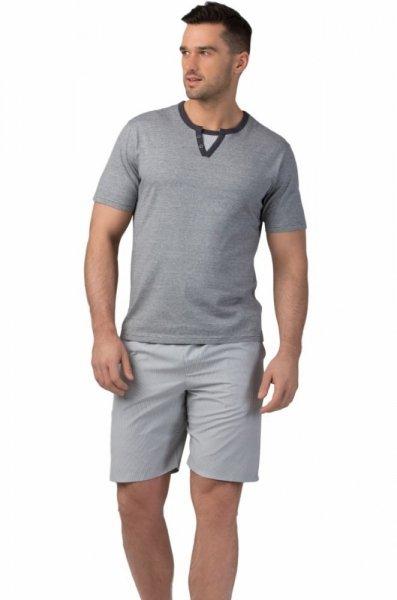 Rossli 116 pánské pyžamo krátké šedé XL šedá-proužky