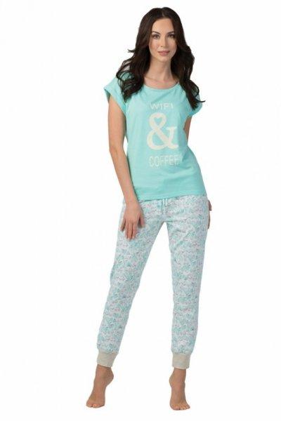 Rossli SAL-PY-1105.I dámské pyžamo tyrkysová XL tyrkysovo-bílá
