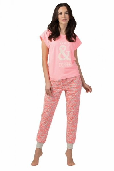 Rossli SAL-PY-1102.I dámské pyžamo růžová XL neonový růžový