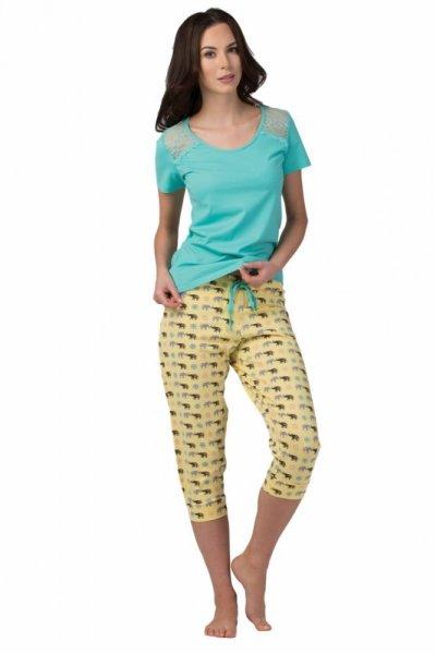 Dámské pyžamo SAL-PY-1104 Rossli XL zelená/vzor