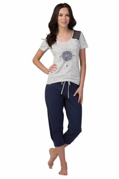 Dámské pyžamo SAL-PY-1086 Rossli XL šedá-tmavě modrá