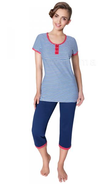 Wadima Amanda 104221 kr.ruk. kalhoty 3/4 Dámské pyžamo L bílo-tmavě modrá