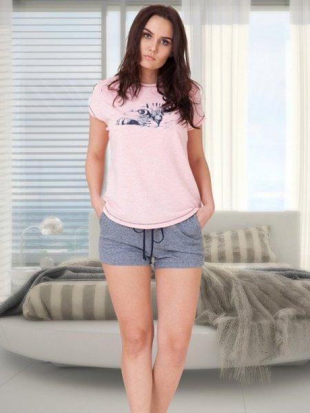 M-Max Angela 616 Růžovo-šedé Dámské pyžamo L růžový melanž