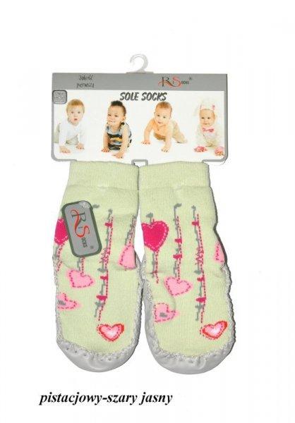 RiSocks art.5692846 dětské ponožky, Kožená podešev 80-86 (13-14 cm) šedá-růžová