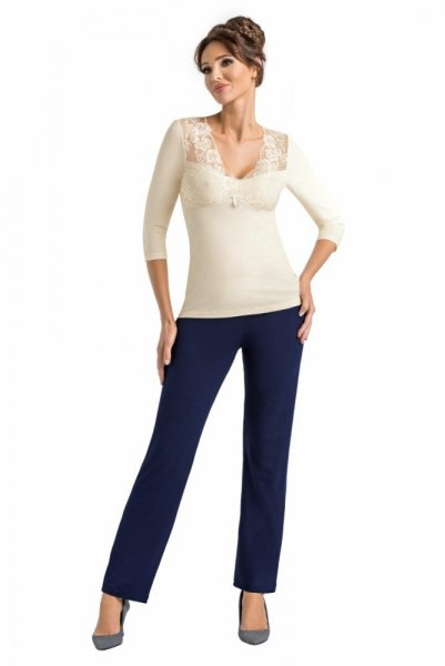 Donna Simone ecru Dámské pyžamo 3XL ecru-tmavě modrá