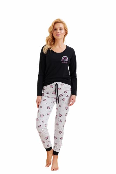 Taro Nora 2124 Z'20 Dámské pyžamo XL černá-světle šedá melanž